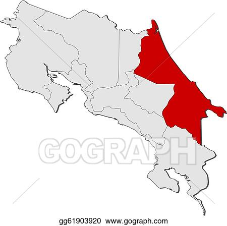 Clip Art Vector Map Of Costa Rica Limon Highlighted Stock Eps