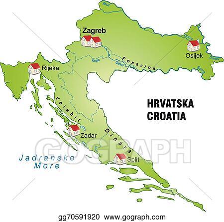 Clip Art Vector - Map of croatia. Stock EPS gg70591920 - GoGraph