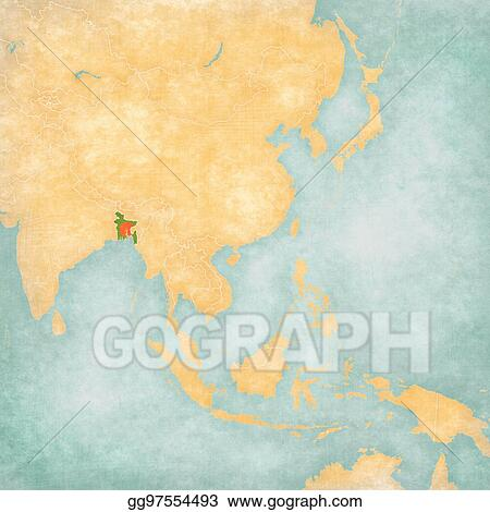 Asia Map Bangladesh.Drawings Map Of East Asia Bangladesh Stock Illustration
