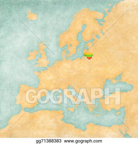 Lithuania On Europe Map.Drawing Map Of Europe Lithuania Vintage Series Clipart