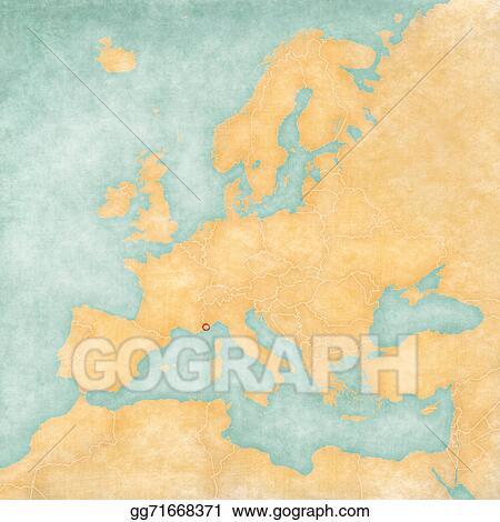 Stock Illustration Map Of Europe Monaco Vintage Series