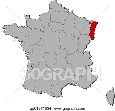Vector Stock Map Of France Alsace Highlighted Stock Clip Art