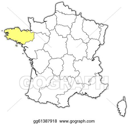 Map Of France Drawing.Vector Art Map Of France Brittany Highlighted Clipart Drawing