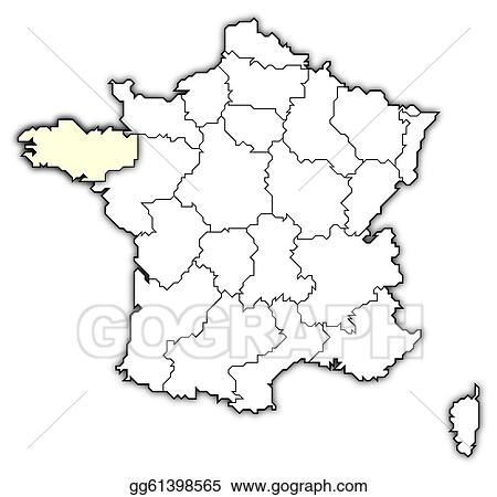 Brittany On Map Of France.Drawing Map Of France Brittany Highlighted Clipart Drawing