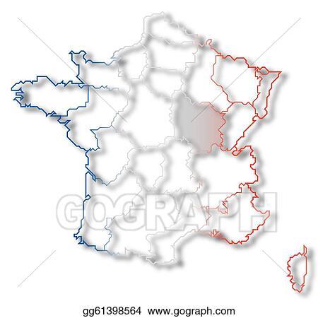 Clip Art Map Of France Burgundy Highlighted Stock Illustration