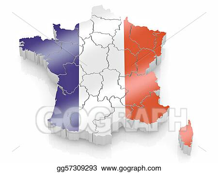 Stock Illustrations Map Of France In French Flag Colors Stock - Map of france in french