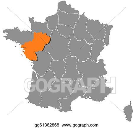 Clip Art Vector - Map of france, pais de la loire ...