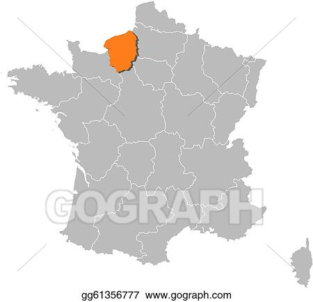 Vector Illustration Map Of France Upper Normandy Highlighted
