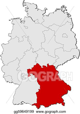 Vector illustration map of germany bavaria highlighted stock map of germany bavaria highlighted gumiabroncs Choice Image
