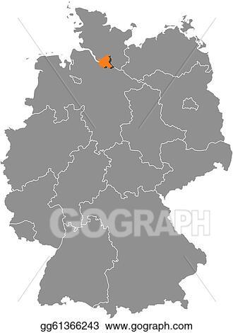 EPS Illustration - Map of germany, hamburg highlighted. Vector ...