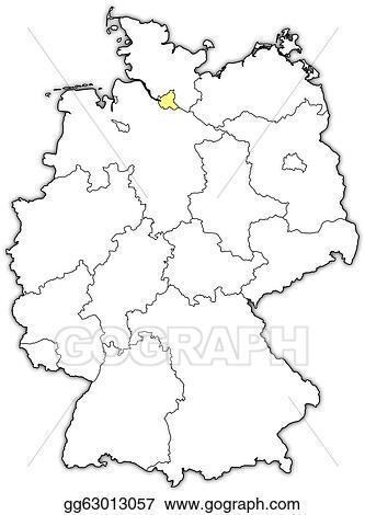 Map Of Germany Hamburg.Eps Illustration Map Of Germany Hamburg Highlighted Vector