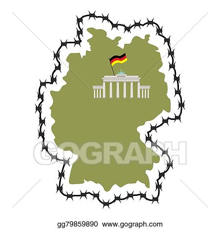 Vector Art - Map of germany. map of states with barbed wire. country ...