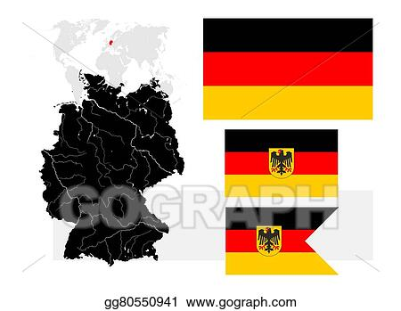 Map Of Germany With Rivers.Vector Clipart Map Of Germany With Lakes And Rivers And Three