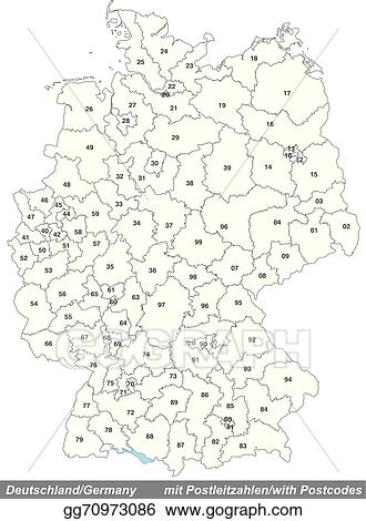 Vector Stock - Map of germany with zip codes. Clipart Illustration on