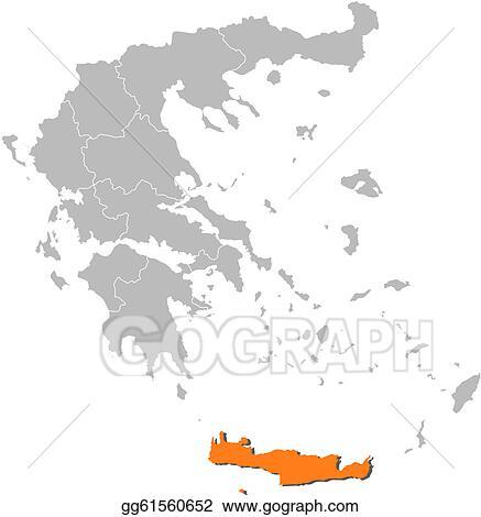 Vector Stock Map Of Greece Crete Highlighted Stock Clip