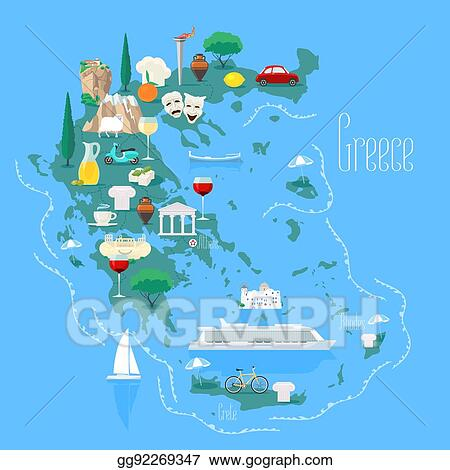 Vector Clipart - Map of greece with islands vector illustration ...