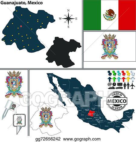 Mexico Map Guanajuato.Vector Stock Map Of Guanajuato Mexico Clipart Illustration