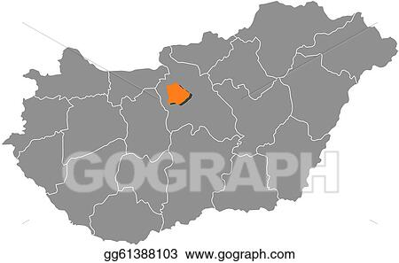 EPS Vector - Map of hungary, budapest highlighted. Stock ...