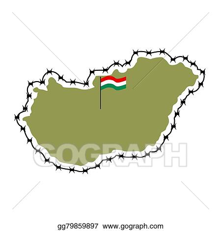 map of hungary country closes border against refugees map of states with barbed wire euan country protects its borders hungarian flag