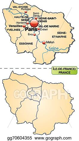 Map Of Yvelines France.Vector Art Map Of Ile De France Eps Clipart Gg70604355 Gograph