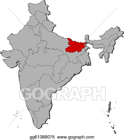 Vector Art Map Of India Bihar Highlighted Clipart Drawing