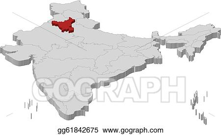 Haryana India Map.Vector Stock Map Of India Haryana Highlighted Clipart