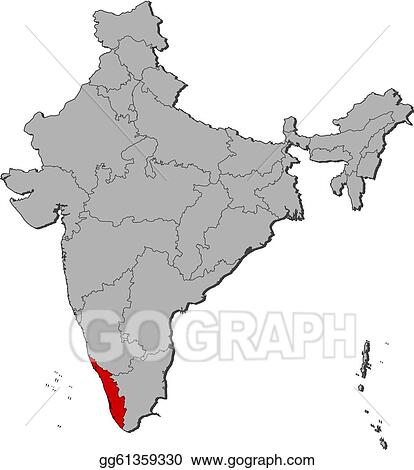 Vector Art - Map of india, kerala highlighted. Clipart ... on america map drawing, haiti map drawing, qatar map drawing, japan map drawing, trinidad map drawing, netherlands map drawing, nigeria map drawing, jamaica map drawing, norway map drawing, south carolina map drawing, ecuador map drawing, roman empire map drawing, finland map drawing, germany map drawing, panama map drawing, galapagos islands map drawing, israel map drawing, thailand map drawing, fertile crescent map drawing, pacific ocean map drawing,