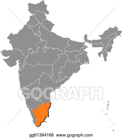 Clip art vector map of india tamil nadu highlighted stock eps map of india tamil nadu highlighted gumiabroncs Choice Image