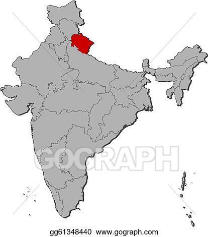 Vector Stock - Map of india, uttarakhand highlighted ...