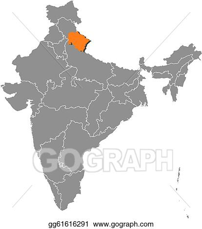 Vector Stock - Map of india, uttarakhand highlighted ...