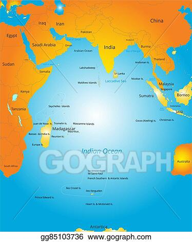 Vector illustration map of indian ocean region eps clipart map of indian ocean region gumiabroncs Gallery