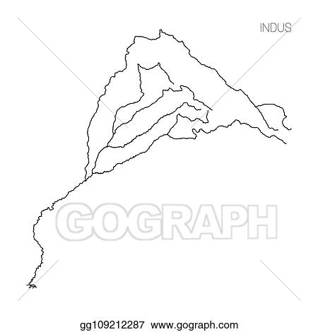 Vector Illustration - Map of indus river drainage basin ...