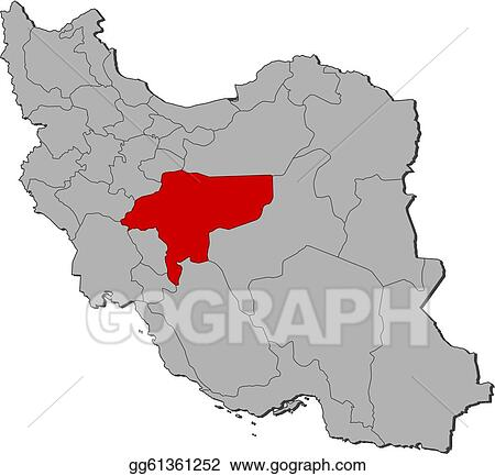 EPS Illustration - Map of iran, isfahan highlighted. Vector ...