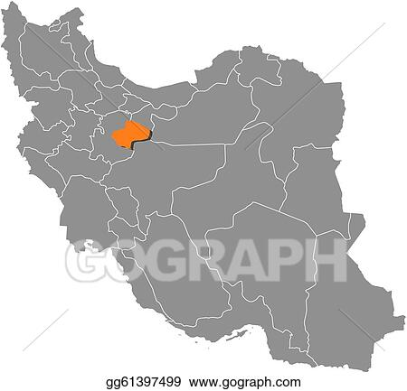 Vector Stock - Map of iran, qom highlighted. Stock Clip Art ...