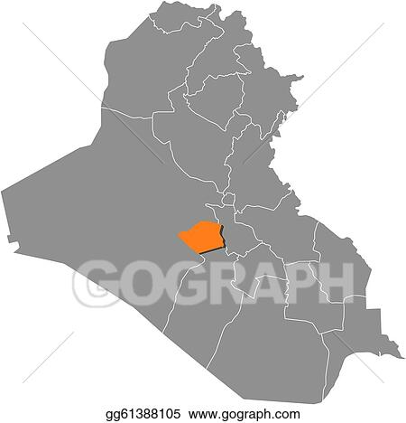 Vector Art - Map of iraq, karbala highlighted. Clipart Drawing ... on medina map, kufa map, dhahran map, al basrah map, bahrain map, tehran map, riyadh map, kirkuk map, karamay map, baghdad map, najaf map, basra map, kurdish language map, jalawla map, jerusalem map, constantinople map, iraq map, palestine map, abu bakr map, muscat map,