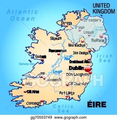 Galway Bay Ireland Map.Vector Stock Map Of Ireland Stock Clip Art Gg70553749 Gograph