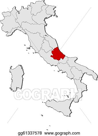Map Of Italy Abruzzo Region.Vector Clipart Map Of Italy Abruzzo Highlighted Vector