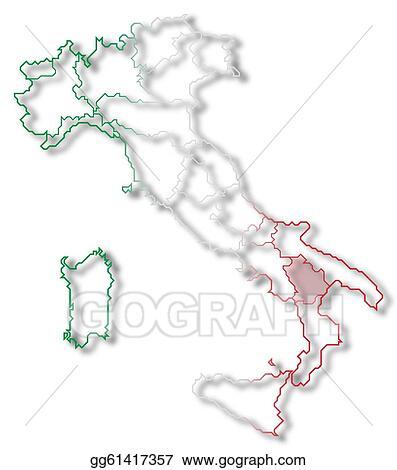 Stock Illustration Map Of Italy Basilicata Highlighted Stock Art