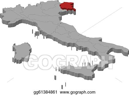 Friuli Italy Map.Eps Vector Map Of Italy Friuli Venezia Giulia Highlighted Stock