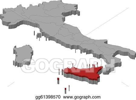 Vector Illustration - Map of italy, secely highlighted. EPS Clipart ...