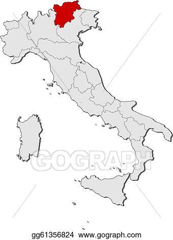 Clip Art Vector Map of italy trentinoalto adigesuedtirol