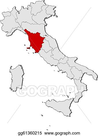 Tuscany Map Of Italy.Vector Clipart Map Of Italy Tuscany Highlighted Vector