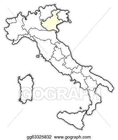 Clip Art Map Of Italy Veneto Highlighted Stock Illustration