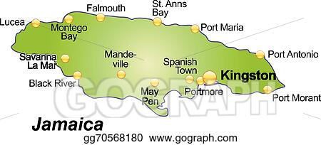 Vector Illustration - Map of jamaica. EPS Clipart gg70568180 - GoGraph