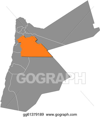 Political Map Of Jordan.Vector Art Map Of Jordan Amman Highlighted Clipart Drawing