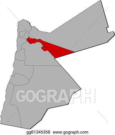 Political Map Of Jordan.Vector Clipart Map Of Jordan Zarqa Highlighted Vector