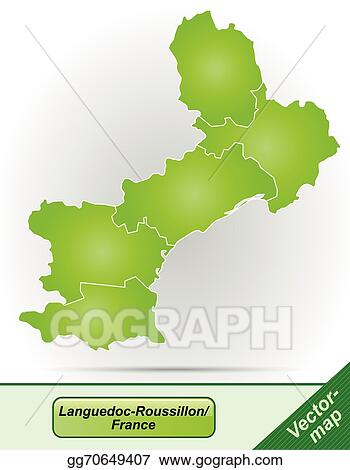 Roussillon France Map.Eps Illustration Map Of Languedoc Roussillon Vector Clipart