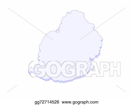 Drawing - Map of mauritius. Clipart Drawing gg72714526 - GoGraph