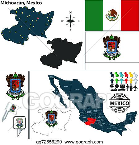 Vector Art - Map of michoacan, mexico. Clipart Drawing ...