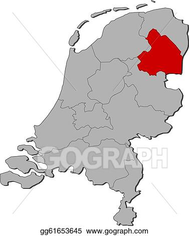 Vector Stock Map Of Netherlands Drenthe Highlighted Clipart